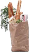 Picture of a bag of groceries.